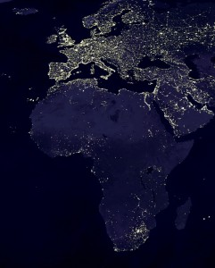 Energy poverty is illustrated by satellite images of Africa by night